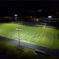 Campbellsport High school football field with new LED lighting and sports poles