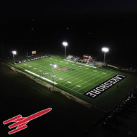 New LED fixtures and steel light poles for Lakeshore football field at Kohn Sports Complex in Stevensville, MI.