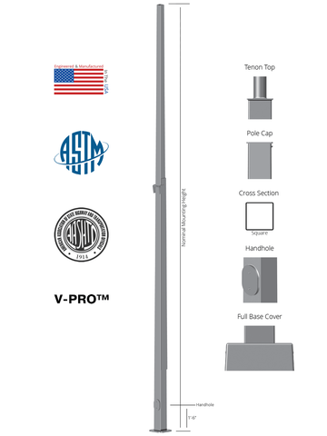 Square Steel External Hinged Anchor Base Light Pole