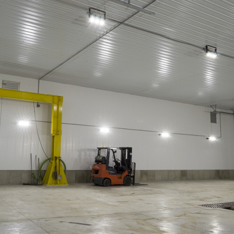 LED Helios light fixtures installed in the newly built wet bay facility for Schmidt's Pumping