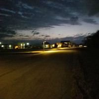 40w LED Shoebox light fixtures illuminate a roadway in College Station, Texas.