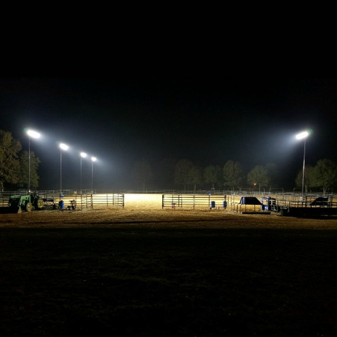 Completed LED equestrian arena lighting project. LED Sports fixtures + Steel light poles + Bullhorn brackets.
