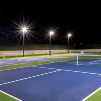 Night - Tennis / Pickleball Court LED lighting package - 16ft Round Tapered Fiberglass Direct Burial light poles + 240w LED Shoebox light fixtures w/ Visors