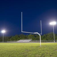 Football field - Tennis Court - Track Lanes | LED Sports lighting packages - (12x) Steel light poles + LED Sports lights + LED Shoebox light fixtures