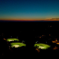 3 Baseball fields illuminated with LED Helios fixtures and 50' custom sports light poles