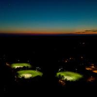 3 Baseball fields illuminated with LED Helios fixtures and 50' custom sports light poles