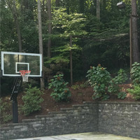 LED Shoebox light fixture + custom aluminum mount - Personal backyard basketball court