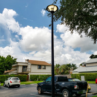 16' Direct burial fiberglass light pole with LED post top light fixture for parking lot in Florida