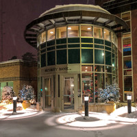 Security Bank USA entrance with new 20w LED Bollard light fixtures
