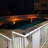 15w LED, Turtle Friendly light fixtures applied to the coastal poolside application in Summerdale, AL.