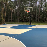 Personal backyard pickleball and basketball court with new LED lighting package
