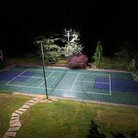 Backyard sports court with 240w LED Shoebox lights to maximize playing time