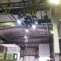 LED 3-engine Helios light fixtures installed in metal working foundry