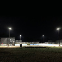 160w LED Shoebox light fixtures with square straight steel light poles for tennis court lighting project in customers backyard.