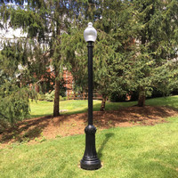 Acorn post top LED lighting with decorative Huntington light poles