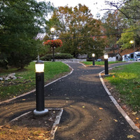 LED Bollard lighting illuminating pathways