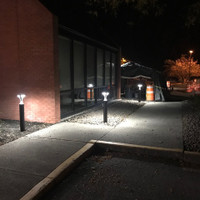 LED Bollard light fixtures installed for entrance of business property