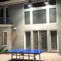 LED Sports light fixtures installed in backyard for competitive ping pong tournaments