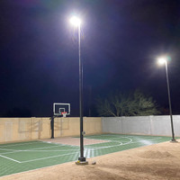 20' square straight steel light poles with 160w LED Shoebox light fixtures for backyard basketball court