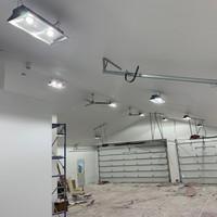 Home owner installs LPP's LED Ecobay light fixtures for garage lighting application.