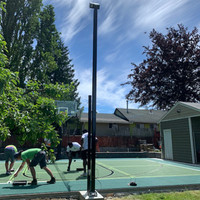 LED Sports lighting set up for backyard sports court