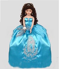 Virgen of Guadalupe Quinceanera Doll, available in all colors