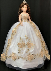 "Gold Quinceanera Doll, 32""  Tall"