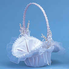 "10"" White Flower Girl Basket"