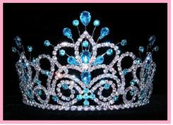 """4""""  Quinceanera Crown, Aqua Blue QT-16107A"""