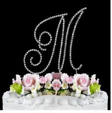 Swarovski Crystal Monogram Cake Topper ~ Silver