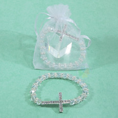 Crystal Beaded Cross Bracelet Favor, Clear