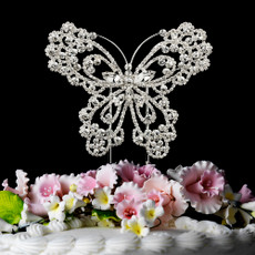 Crystal Butterfly Cake Topper in Sterling Silver