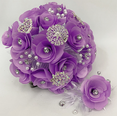 Lilac Round Flower Bouquet and Headpiece