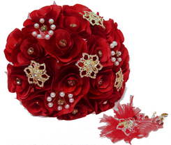 Burgundy Round Quinceanera Flower Bouquet and Headpiece
