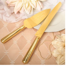 Gold  Cake Server Set, Engraved