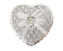 "3 1/4"" Silver Heart-Shaped Ribbon Bow Favor Box - Pack of 12 ( $ 1.79 each)"