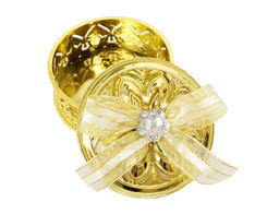 "3"" Gold Round Ribbon Bow Favor Box - Pack of 12  ( app. $ 1.40 each)"