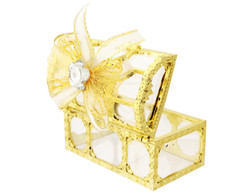 "3"" Gold Treasure Chest Ribbon Bow Favor Box - Pack of 12 ( $ 1.99 each)"