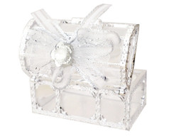"3"" Silver Treasure Chest Ribbon Bow Favor Box - Pack of 12 ( $ 1.99 each)"