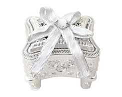 "3"" Silver Rose Ornate  Curio Ribbon Bow Favor Box - Pack of 12 ( $ 1.89 each)"