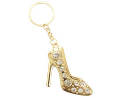 Gold Crystal Rhinestone High Heel Keychain - Pack of 12