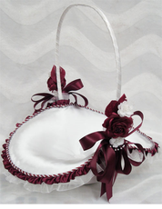 "10"" Burgundy Flower Girl Basket"