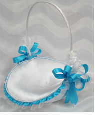 "10"" Blue Flower Girl Basket"