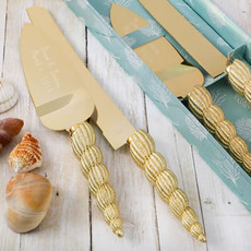 Seashells Cake Server and Knife Set, Engraved