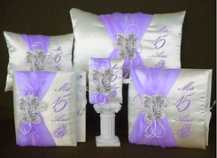 Butterfly and Flowers Quinceañera Accessories Set - Lavender