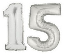 15 Silver Numbers Balloons
