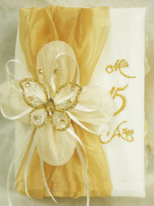 Ivory and Gold Quinceanera Bible