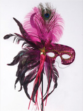 Feather Masquerade Mask - Fuschia