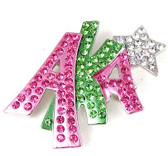 AKA Pink And Green Lapel Pin with Silver Star