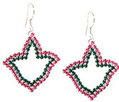 AKA Rhinestone Pink and Green Ivy Earrings